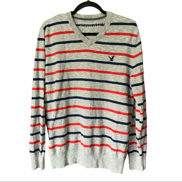 American Eagle V-neck striped grey sweater